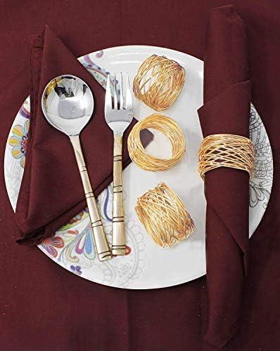 مجموعة من حلقات المناديل الشبكية المعدنية من Skavij لتزيين طاولة الطعام بقطر 5 سم عبوة من 12 قطعة ذهبي Amazon Ae