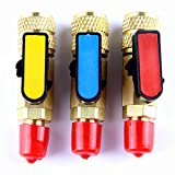 PENSON & CO. 3Pcs Color coded R410A Straight Ball Valves For AC Freon Charging Hoses Brass
