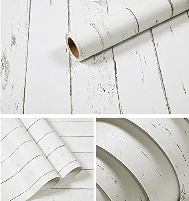 Amao Vintage White Wood Panel Pattern Contact Paper Self-adhesive Peel-stick Wallpaper17.7''x78.7''