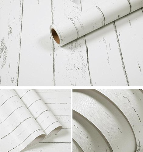 Marble Flooring Pattern - Amao Vintage White Wood Panel Pattern Contact Paper Self-adhesive Peel-stick Wallpaper17.7''x78.7''