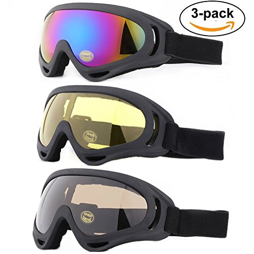 Ski Goggles, Yidomto Pack of 3 Snowboard Goggles for Kids,Boys,Girls,Youth, Mens,Womens,with UV Protection,Windproof,Anti - Prescription Goggles Ski Children's