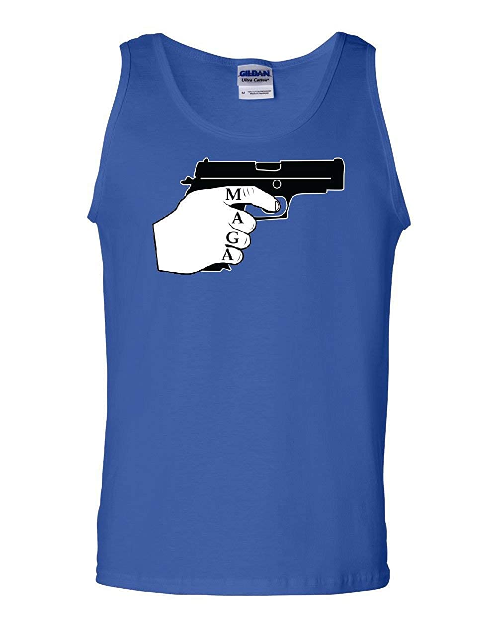 Tee Hunt MAGA Holding a Handgun Tank Top 2nd Amendment Keep America Great Sleeveless