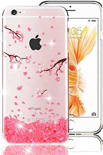 iPhone 6S Plus Case,iPhone 6 Plus Case, PHEZEN iPhone 6S Plus TPU Case Luxury Bling Diamond Crystal Clear Soft TPU Silicone Back Cover with Cute Pattern for 5.5 inch iPhone 6/6S Plus, Cherry blossoms - Tpu Diamond Pattern