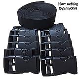 RETON 32mm Wide 10 Yards Black Nylon Webbing Strap + 15 PCS Adjustable Buckles Plastic Side Release Buckles