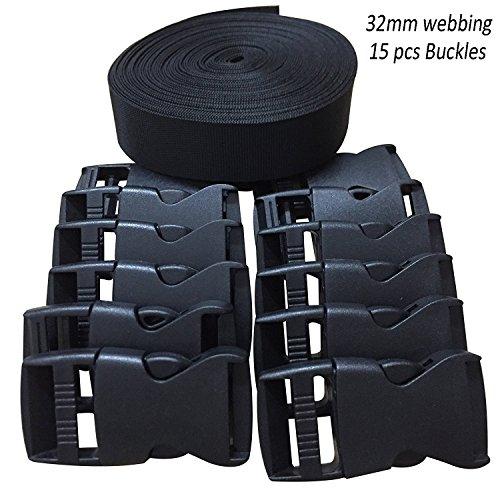 RETON 32mm Wide 10 Yards Black Nylon Webbing Strap + 15 PCS Adjustable Buckles Plastic Side Release Buckles by RETON