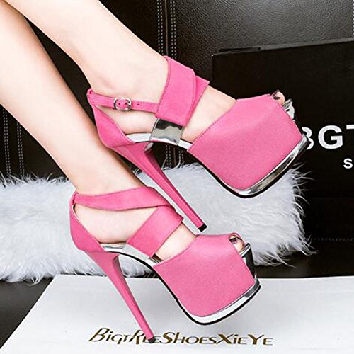hebillas mujeres correas Aisun rosa plataforma toe peep color alto sexy sandalias escarchado tacón de de elegante estilete Itrdr