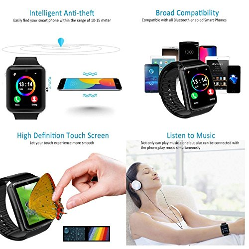 Smart Watch for Android Phones 2018 Bluetooth Smartwatch Android Phone Watch Waterproof Smart Watches Touchscreen with Camera Compatible IOS iphone X 8 7 6 6S plus Android Samsung for Women Man Black by Luckymore (Image #4)