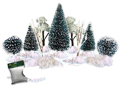 Christmas Village Accessories.Christmas Village Accessories Set Of 9 Flocked Frosted