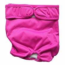 "Reusable Washable Cloth Dog Diapers Female (Large(Waist size 17""-24""), Hot Pink)"