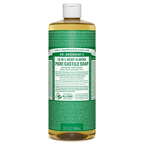 Dr. Bronner's - Pure-Castile Liquid Soap (Almond, 32 ounce) - Made with Organic Oils, 18-in-1 Uses: Face, Body, Hair, Laundry, Pets and Dishes, Concentrated, Vegan, Non-GMO (Dr Bronners Castile Soap For Dog Shampoo)
