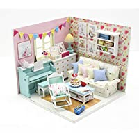 1:18 Scale Cool Beans Boutique Miniature Dollhouse DIY Kit - Family Room with Blue Piano and Dust Cover (English Manual)