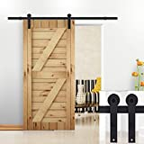 5 panel exterior door - Hahaemall Antique 5-16FT Single Sliding Barn Door Hardware Steel Exterior Black Rail ( I shape hangers) (5FT Soft Close Single Door Kit)