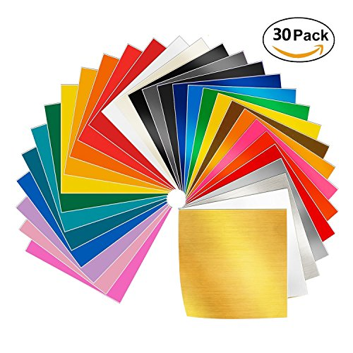 Adhesive Vinyl Sheets - 30 Pack 12'' X 12'' Premium Permanent Self Adhesive Vinyl Sheets-Assorted Colors for Cricut,Silhouette Cameo,Craft Cutters,Printers,Letters,Decals by SWISSELITE