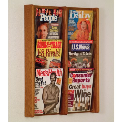 DMD Literature Display, 6 Pocket, Solid Oak and Acrylic Wall Mount Rack, Medium Oak Wood Finish 6 Pocket Wood Literature Display