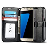 Galaxy S7 Edge Case, J&D [Wallet Stand] Samsung Galaxy S7 Edge Wallet Case Heavy Duty Protective Shock Resistant Wallet Case for Samsung Galaxy S7 Edge (Black/Brown)