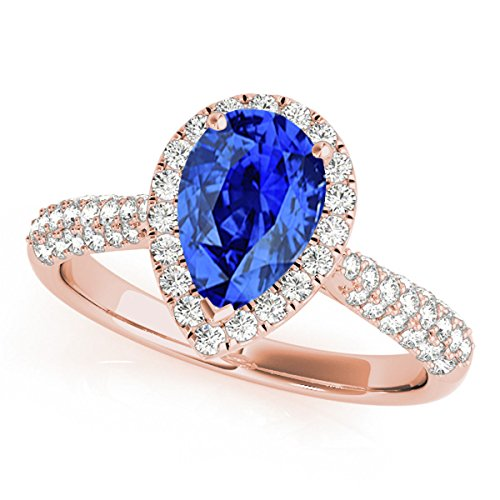 1 Ct. Ttw Diamond And Pear Shaped Tanzanite Ring In 10K Rose Gold