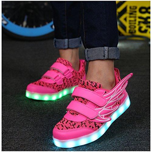 ECOTISH Unisex Kinder Neue LED Leuchten Schuhe 7 Farben, Die Blinkende aufladende Leuchtende Sport-Schuhe mit Flügel-Art-Art und Weiseturnschuhen Ändern (EU 32, Rosa)