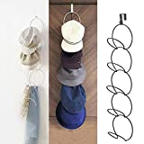 Over the Door Hat Racks for Baseball Caps, Hanging Hat Rack Holder Vertical Hat Display Rack Metal Scarf Hanger Organizer Holder Behind Door Closet Home Organization - White