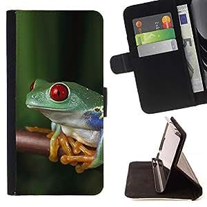 Momo Phone Case / Flip Funda de Cuero Case Cover - Rana Selva Tropical Naturaleza Verde - Motorola Moto E ( 2nd Generation )