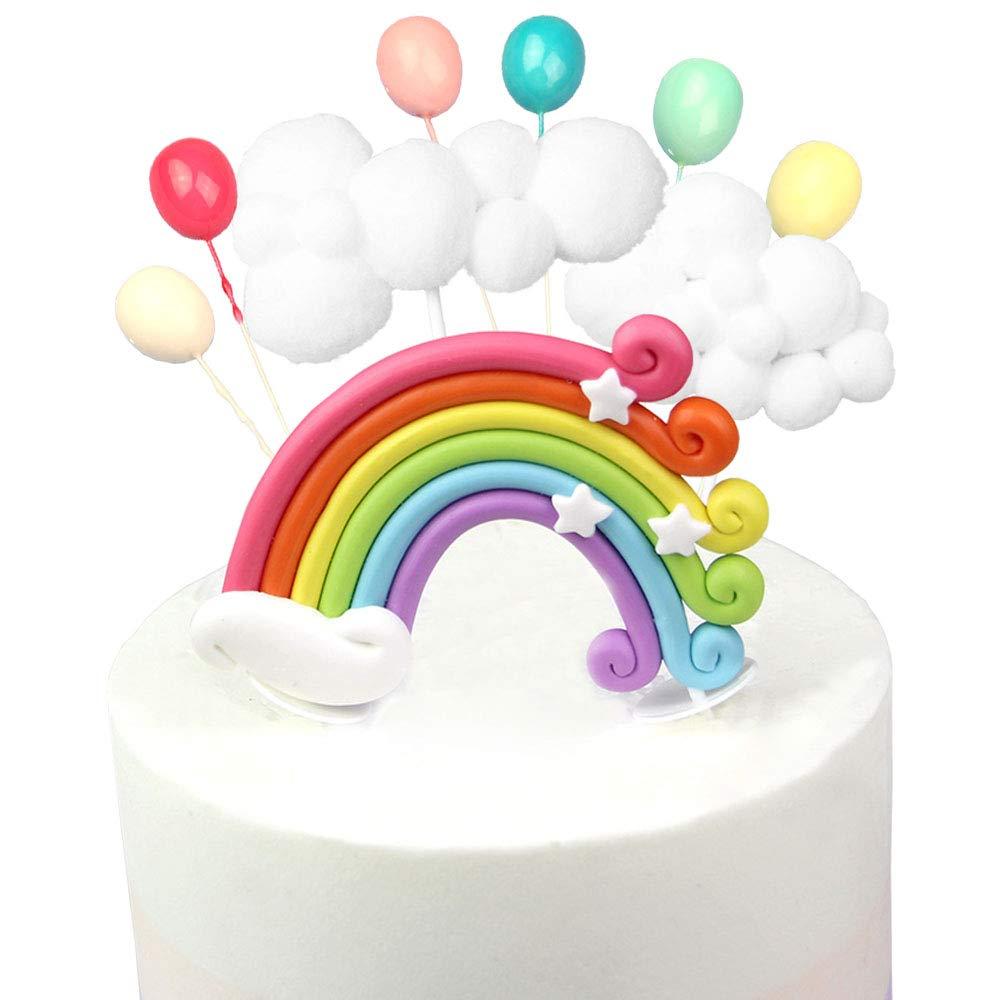 Kitchen-dream 13PCS Kit de Pastel de cumplea/ños de pr/íncipe y Princesa Decoraciones de Pastel de Arcoiris con Globo de Nube de Guirnalda Globo de Colores y pr/íncipe Ideal para cumplea/ños de ni/ños