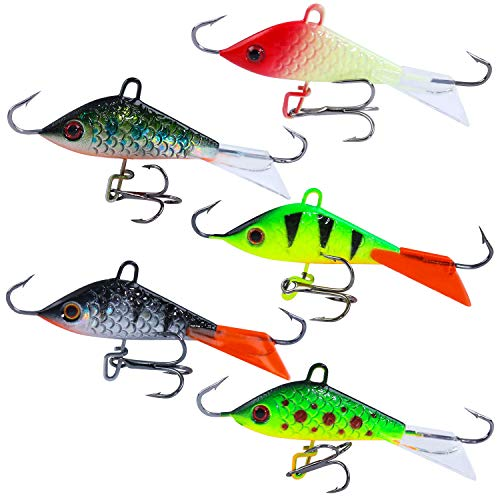 Sougayilang Ice Fishing Lures Winter Lifelike Fishing Baits Ice Jigging Lures Kit for Bass Walleye-Type4-5Pcs(2.04in/0.28oz)