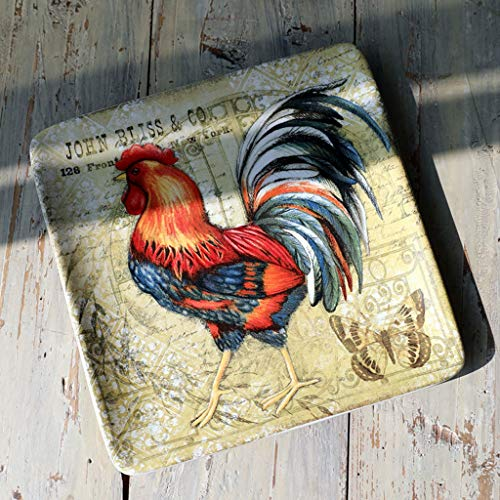 Eoco Square Plate American Ceramic Dinnerware Rooster Pattern Party Creative Decor Restaurant Household Tableware (color : A) (Dinnerware Rooster Pattern)