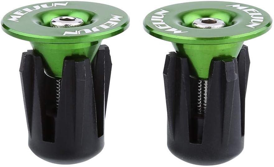 Dingln 2pcs Tapas De Aluminio Colorida De La Bicicleta Manillar Bar Grips End S Verde
