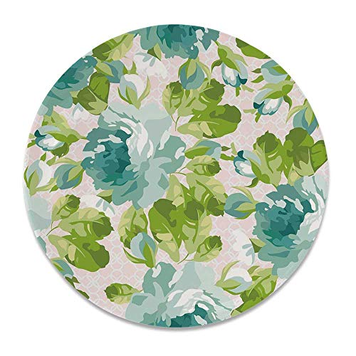 - YOLIYANA Shabby Chic Decor Round Ceramic Decorative Plate,Tropical Botany Garden Theme Blue Roses Leaves Bouquets for Table Or Wall,7 inch