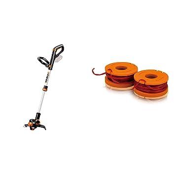 Worx Wg163E.9 Batería Negro, Metálico, Naranja Cortabordes y Desbrozadora Cortacésped (String Trimmer, Nylon Line, D-Loop Handle, 1,65 Mm, 3 M, Negro, ...