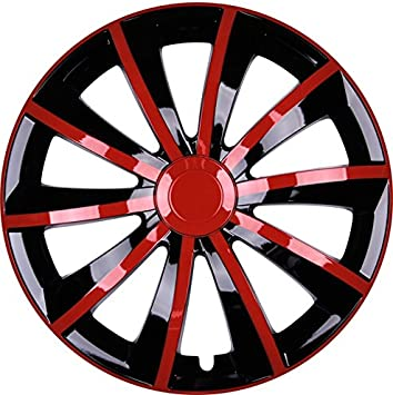 Premium Radkappen Radzierblenden Radblenden Modell Gral 4er Set Farbe Rot Schwarz Felgendurchmesser 15 Zoll Auto