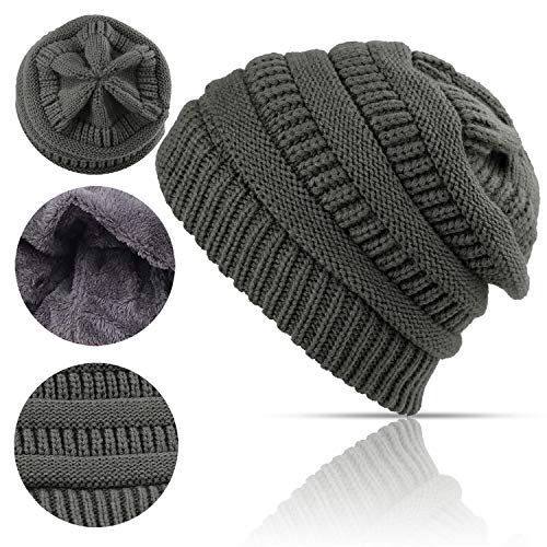Lobeve Cable Knit Beanie Winter Warm Fleeced Fuzzy Lined Skull Hat for Womens Mens-Grey - Fully Lined Winter Hat