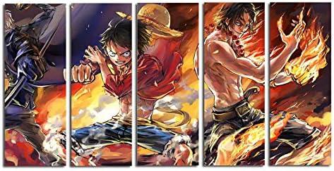 Luffy Poster Pittura murale per la Decorazione domestica-30x40 30x60 30x80cm Senza Cornice nobrand 5 Pezzi Pittura su Tela HD Wall Art Anime Poster Picture One Piece Monkey D