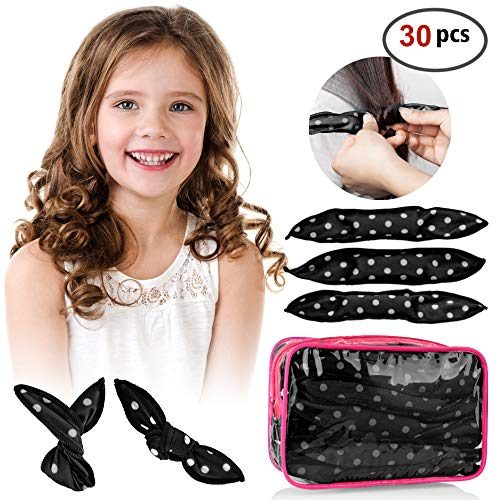 30pcs Hair Rollers - HailiCare Foam Hair Roller for Hair DIY - Flexible Soft Pillow Curlers - No Heat for Women & Kids (Black) (Loose Curls For Short Hair Without Heat)