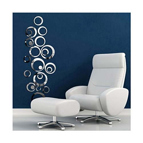 Iuhan® Fashion Circles Mirror Style Removable Decal Vinyl Art Wall Sticker Home Decor (Silver)