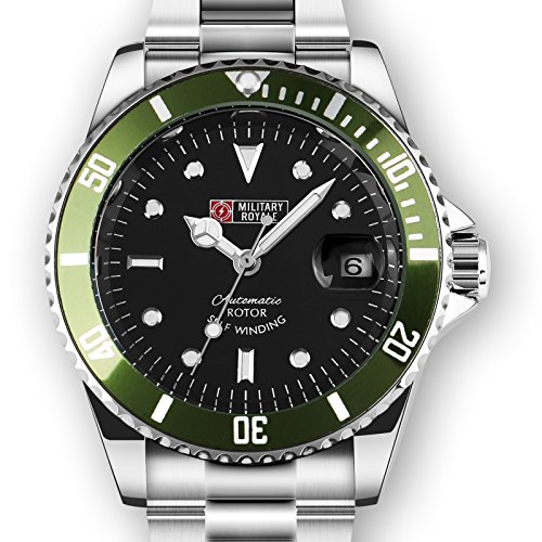 Military Royale Mens Watch Mechanical Self-winding Black Dial Green Bezel Steel