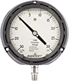 """Ashcroft Duralife Type 1259 Fiberglass Reinforced Thermoplastic Case Glycerin Filled Pressure Gauge, Stainless Steel Bourdon Tube and Socket, 4.5"""" Dial Size, 1/4"""" NPT Lower Connection, 0/30"""" Hg Vac/0/30 psi Pressure Range"""