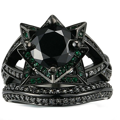 JAJAFOOK Personality Vintage Women's Black Gold Rose with Green Black Diamond Wedding Band Rings Set