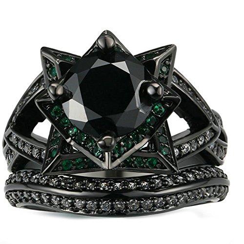 (JAJAFOOK Personality Vintage Women's Black Gold Rose with Green Black Diamond Wedding Band Rings Set)