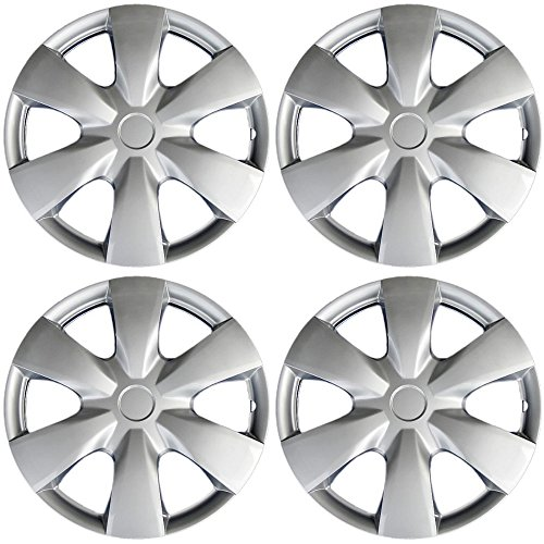 OxGord Hub-caps for 04-16 Toyota Yaris (Pack of 4) Wheel Covers 15 inch Snap On - Rims Yaris Toyota
