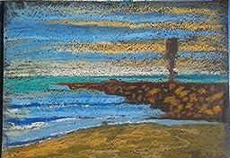 Lou Baker Original Art Oil Pastel Ocean Jetty Beach Waves Water Sundown