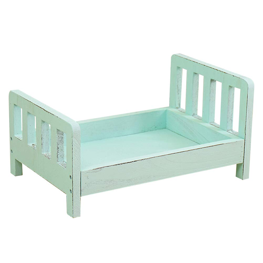 Newborn Photography Prop Wooden Bed, Baby Photo Studio Posing Prop Crib Cot for Boys Girls by Cicony