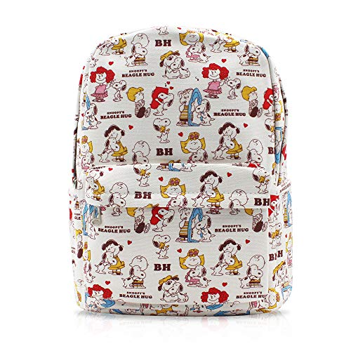 Finex Snoopy White Canvas Cute Cartoon Casual Backpack with 15 inch Laptop Storage Compartment for Children Kids Girls Boys Preschool Elementary Middle School Daypack Travel Snack Sport Bag Gift -