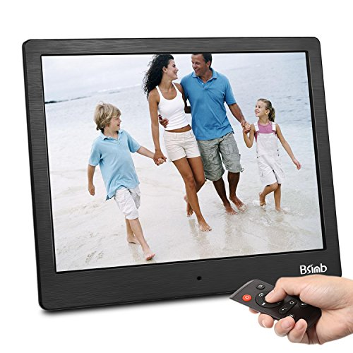 "Digital Photo Frame 10"" FHD Video (1080P) 4:3 Hi-Res IPS LCD Screen Digital Picture Frame WI-FI with APP Transmission with 4GB Internal Memory & Remote Control M13 (Black) by Bsimb"