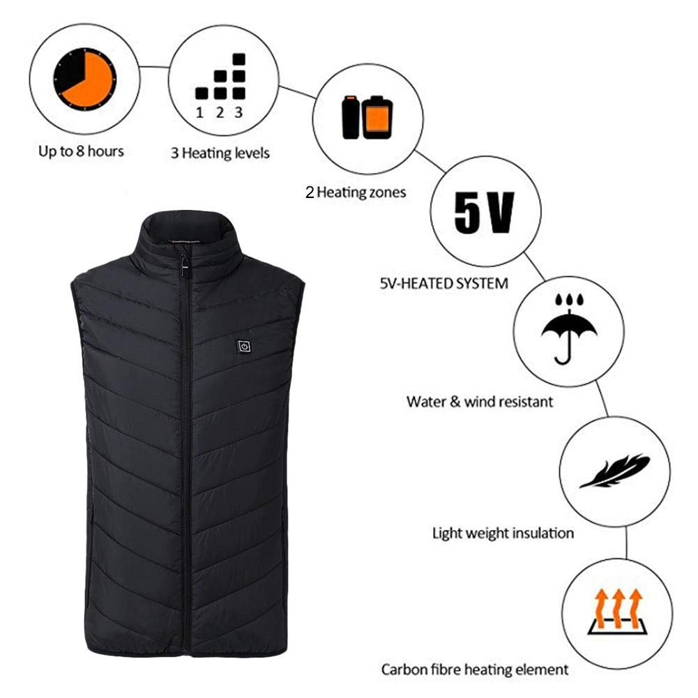 Bulary Heated Vest, Outdoor Riding Skiing Fishing USB Charging Heated Clothing Warmer Down Vest Heated Clothing for Outdoor Hike and Camp