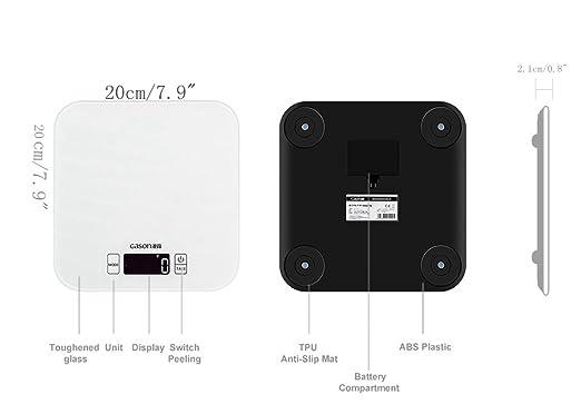 DEARMLSH Escala de Cocina de Alta precisión Alimento para Hornear para el hogar Pesos electrónicos Gramos (Color : Blanco): Amazon.es