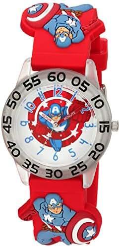 Marvel Boy's 'Captain America' Quartz Plastic Casual Watch, Color:Red (Model: WMA000041)