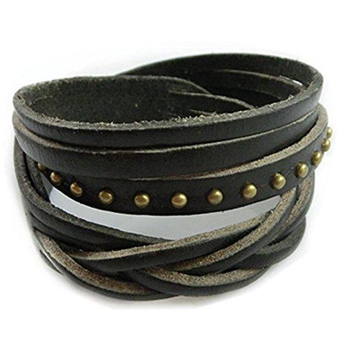 UNIONTOP Fashion Punk Rock Rivets Multilayer Leather Women Men Bangle Bracelet Cuff Wristband Black