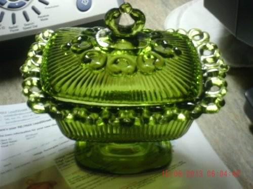 Vintage Indiana Glass Green Glass Lace Edge Covered Rectangular Pedestal Candy Dish with Finial on Lid Ribbed Top and Dish