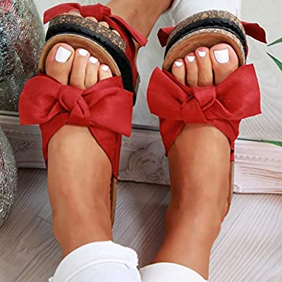 Fudule 2020 Women New Comfy Wide Width Plat Sandals Shoes Summer Beach Travel Slipper Shoes Thick Bottom Flip Flop: Clothing