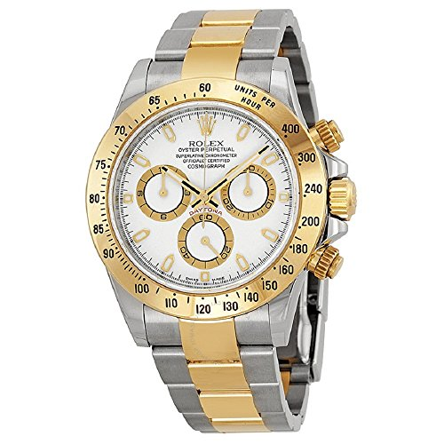 (Rolex Oyster Perpetual Cosmograph Daytona 40mm Stainless Steel Case, 18K Yellow Gold Tachymeter Engraved Bezel, White Dial, And Stainless Steel And 18K Yellow Gold Oysterlock Bracelet.)